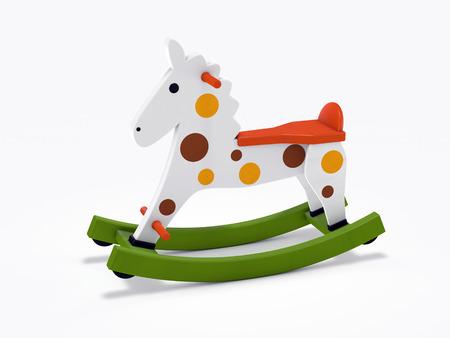 rocking: wooden rocking horse isolated on white background