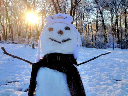 man: Good morning. Happy snow man.