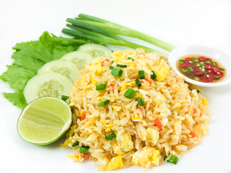 fish sauce: fried rice and chili fish sauce on the side , thai food