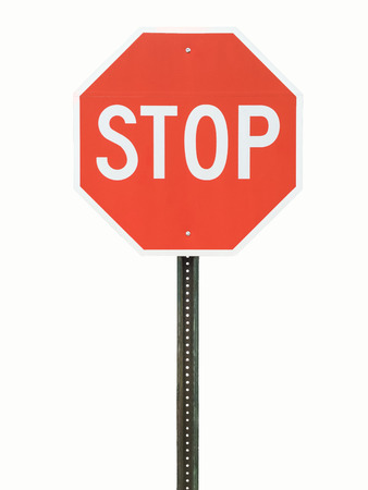 sign: stop sign on white background