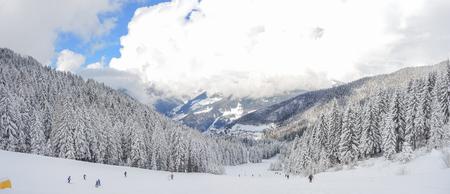 alpinist: Snowfall Orobie Alps Stock Photo