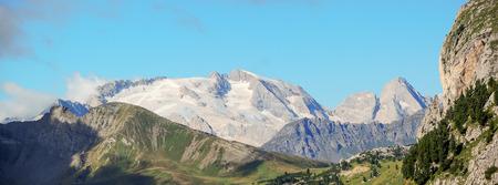 red mountain: Dolomites. Alta Badia. South Tirol. Marmolada.