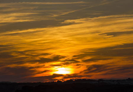 quite: Fiery sunset at Arenal den Castell - Menorca - Spain