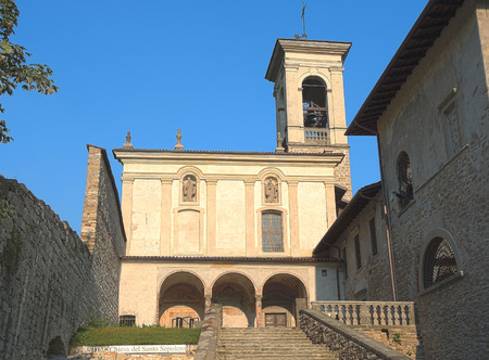 church of the holy sepulchre: Former Monastery of Astino - Bergamo City. The written on the photo is the name of the church, the Holy Sepulchre Church. Stock Photo