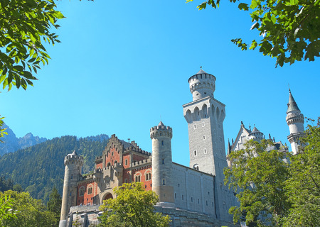 neuschwanstein: Neuschwanstein castle, Romanesque Revival palace, Hohenschwangau, Fussen, Bavaria, Germany