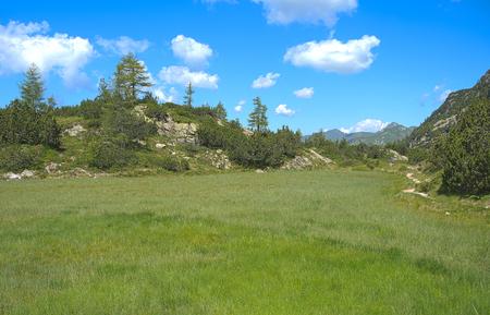 Landscape at Laghi Gemelli (Twin Lakes) area. Walking to Beak Lake. Carona. Brembana valley. Italy