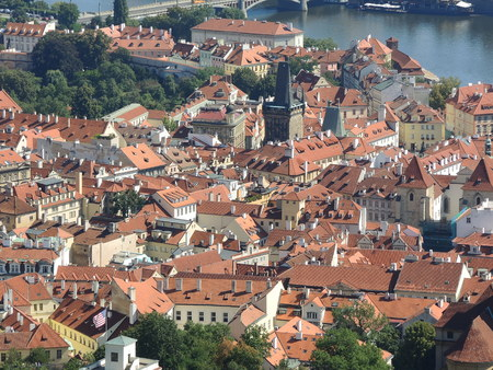 Prague is the capital of the Czech Republic. political and cultural center of Bohemia. Its historic center was included in the Unesco World Heritage. Roofs of the city.