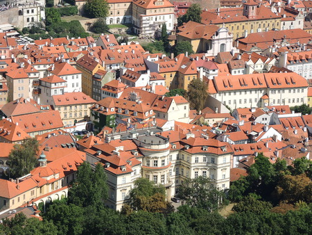 turistic: Prague is the capital of the Czech Republic. political and cultural center of Bohemia. Its historic center was included in the Unesco World Heritage. Roofs of the city.
