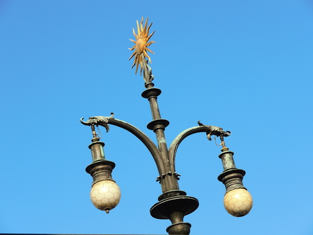 Ancient and liberty light pole of Prague streets