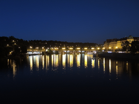 Prague is the capital of the Czech Republic. political and cultural center of Bohemia. Its historic center was included in the Unesco World Heritage. Bridges on Vltava river at night