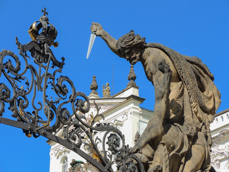 Prague is the capital of the Czech Republic. Its historic center was included in the Unesco World Heritage. Architectural details of buildings in Prague, Czech Republic