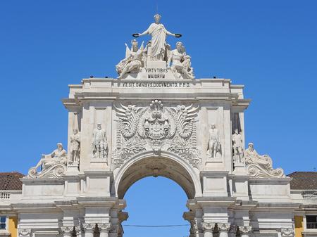 plaza of arms: Lisbon, Portugal. City Center, Rua Augusta triumphal arch, Commerce Square Stock Photo