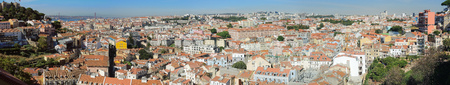 Lisbon, Portugal. Viewpoint from Mirodouro by Gra�a a splendid terrace offering a spectacular panoramic view of the castle and central Lisbon.