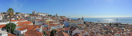 Lisbon, Portugal. Viewpoint from Mirodouro by Graça a splendid terrace offering a spectacular panoramic view of the castle and central Lisbon. Editorial
