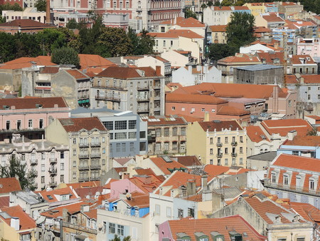 warmest: Lisbon, Portugal. Viewpoint from Mirodouro by Gra?a. Roofs and buildings of the city center