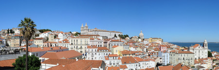 Lisbon, Portugal. Viewpoint Largo das Portas do Sol, a balcony opens onto the river offering truly spectacular views over Alfama. Lookout on the Monastery of Sao Vincente