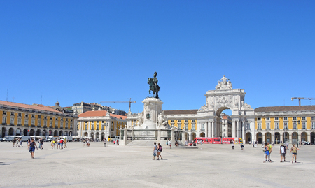 Lisbon, Portugal September 10, 2016 City Center, Rua Augusta triumphal arch and Commerce Square