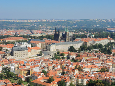 turistic: Prague is the capital of the Czech Republic. Political and cultural center of Bohemia. Historic center included in the Unesco World Heritage. Landscape from Petrin Tower to the castle.