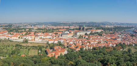 Prague is the capital of the Czech Republic. Political and cultural center of Bohemia. Historic center included in the Unesco World Heritage. Landscape from Petrin Tower to the castle.