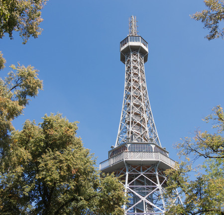 Prague Czech Republic. Petrin Tower is 63.5 meters tall steel framework tower, used as an observation tower and transmission tower. Stock Photo