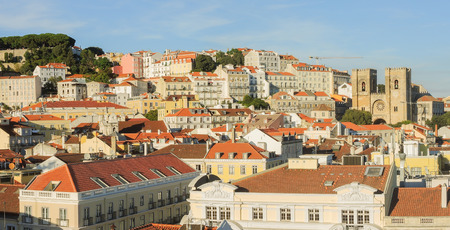 plaza of arms: Lisbon, Portugal. Landscape from Triumphal arch to Saint George Castle and the city center at sunset.