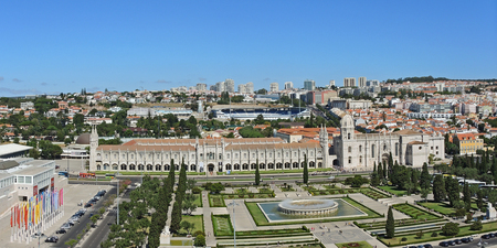 bastion: Lisbon, Portugal, September 10, 2016. Landscape from the Monument to the Discoveries (named Padrao dos Descobrimentos) to the Belem tower, Tagus river, 25 de Abril Bridge and Monastery named Jeronimos