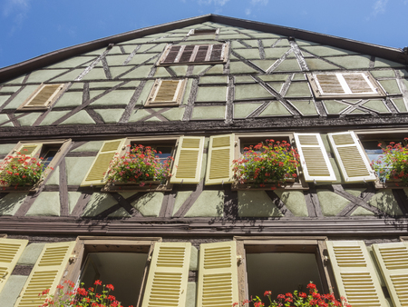 the little venice: Colmar, Alsace, France, Medieval old town. Half timbered houses.
