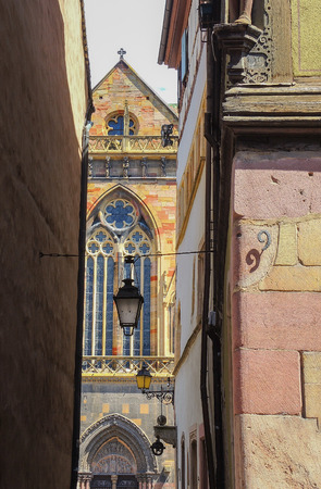 romantic places: Colmar, Alsace, France, Medieval old town. Views of of the city, through the narrow streets