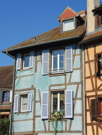 romantic places: Colmar, Alsace, France, Medieval old town. Half timbered houses.