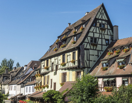 Colmar, Alsace, France, Medieval old town. Half timbered houses.