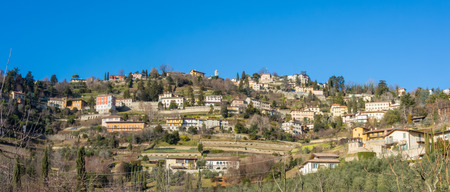 terracing: That view of the hills surround Bergamo During a day with clear blue sky, Orobie area, Lombardy, Italy Stock Photo
