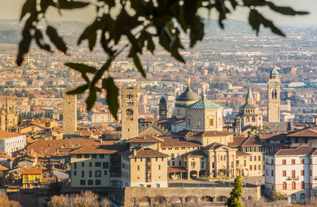 the po valley: Bergamo - Old city (Citta Alta). One of the beautiful city in Italy. Lombardy. Landscape of the old city from San Vigilio hill During a beautiful day. Stock Photo