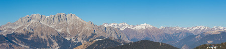 Wonderful panorama from Monte Pora Presolana to in winter dry season. Orobie Prealps, Bergamo, Lombardy, Italy.