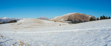 ski walking: Landscape at the Monte Pora ski area in winter dry season. Orobie Alps, Prealps Bergamasque, Bergamo, Italy.