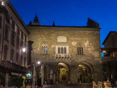 Bergamo - Old city (Citta Alta). One of the beautiful city in Italy. Lombardy. Landscape on the old main square (called the Old Square), the ancient Administration Headquarter and Contarini fountain.