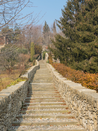 Bergamo. One of the beautiful city in Italy. Lombardy. Stones That stairway reach the ancient city from the lower town.