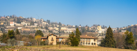 the po valley: That view of the hills surround Bergamo During a day with clear blue sky, Orobie area, Lombardy, Italy Stock Photo