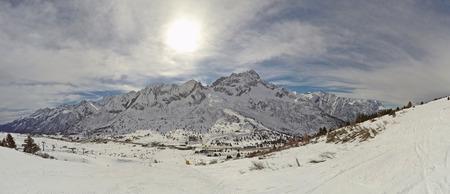 Fantastic landscape on Tonale pass and Presena Paradiso from the ski slopes Stock Photo