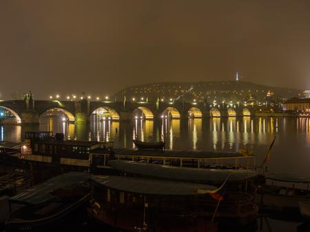Prague, Czech Republic, landscape at the Charles Bridge at night.