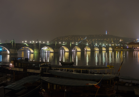 Prague, Czech Republic, landscape at the Charles Bridge at night.