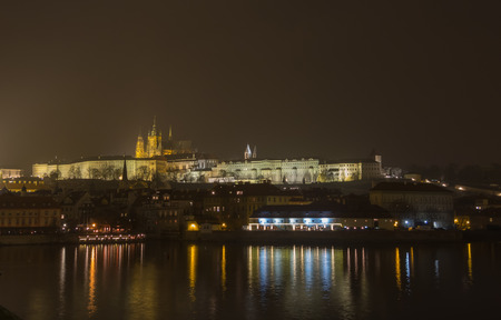Prague is the capital of the Czech Republic. political and cultural center of Bohemia. Its historic center was included in the Unesco World Heritage. landscape at the castle in the night.