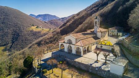 Aerial view of the Sanctuary of Altino - Albino city - Bergamo area - Italy. Photo taken with the drone Stock Photo