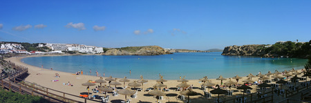 quite: Landscape of the beautiful bay of Arenal den Castell with a wonderful turquoise sea, Menorca, Spain Stock Photo