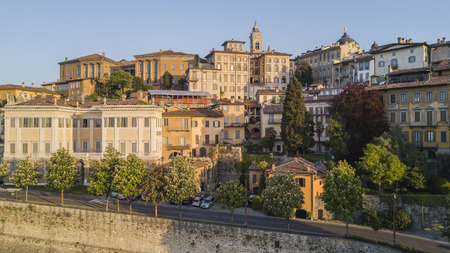 beauties: Bergamo, Italy, The Old city. One of the beautiful cities in Italy. The old and historic buildings at the upper town.