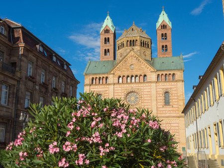 Speyer, Germany. The facade of the Cathedral officially named the Imperial Cathedral Basilica of the Assumption and St Stephen Editorial
