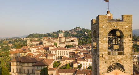 Bergamo, old town, Drone aerial view on the bell tower and the old buildings Stock Photo
