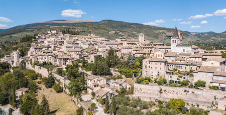 Spello, one of the most beautiful small town in Italy. Drone aerial view of the village Stock Photo