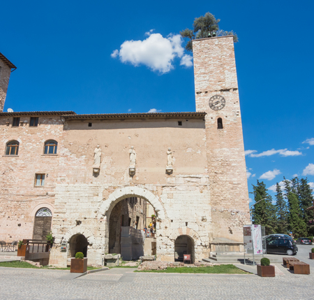 Spello, one of the most beautiful small town in Italy. The ancient gateway to the city called Consular Gate