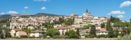 Spello, one of the most beautiful small town in Italy. Skyline of the village from the land Stock Photo