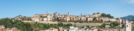 Bergamo - Old town. One of the beautiful cities in Italy. Lombardy. Landscape on the old town during a wonderful blue day